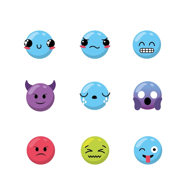 Stellen sie kawaii emoji gefühldesignikone ein Premium Vektoren