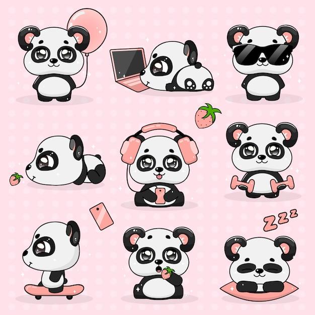 Stellen sie kawaii verrückten kleinen panda, vektor-illustration ein. Premium Vektoren