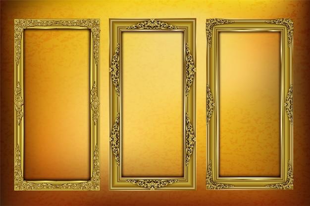 Stellen sie königlich vom goldenen schablonenfotorahmen ein Premium Vektoren