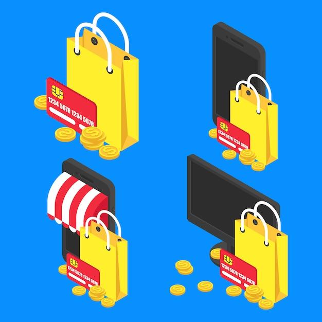 Stellen sie konzept online einkaufen isometrisch. vektoreinkaufstasche und moderne gerätikone Premium Vektoren