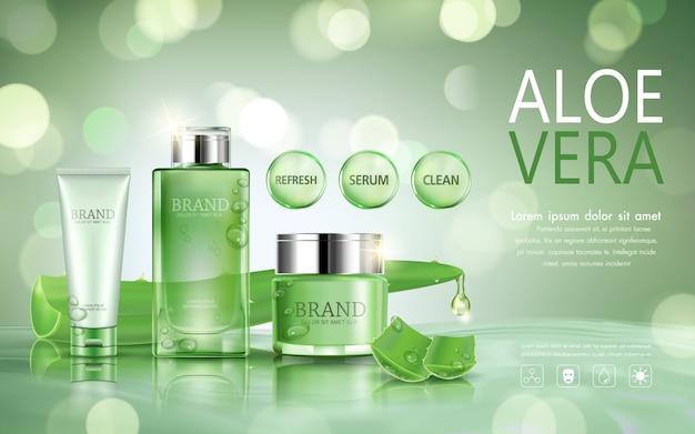 Stellen sie kosmetische flasche für anzeige mit aloe vera auf bokeh hintergrund ein. Premium Vektoren