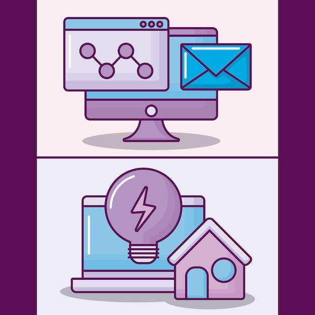 Stellen sie laptop-computer mit ikonen des elektronischen geschäfts ein Kostenlosen Vektoren