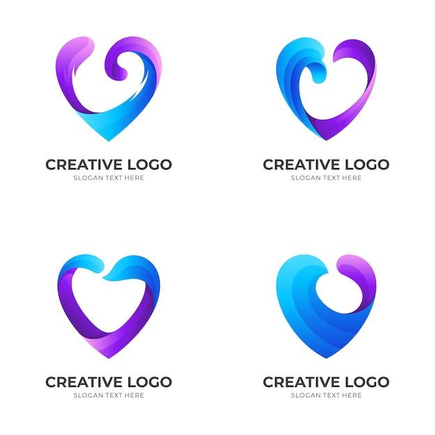 Stellen sie liebeswelle, liebe und welle, kombinationslogo mit blauem und lila farbstil ein Premium Vektoren
