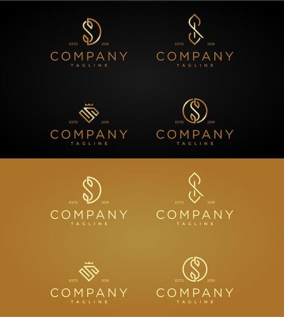 Stellen sie luxuslogo-schablonenbuchstaben s ein. Premium Vektoren