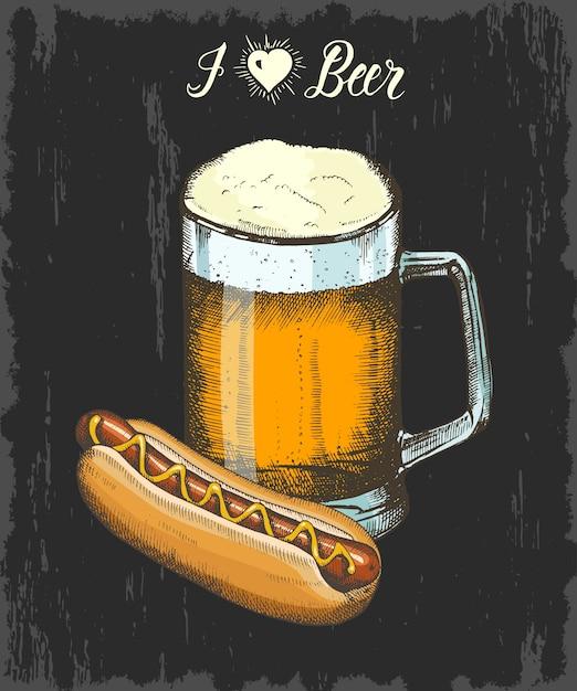 Stellen sie mit hand gezeichnetem becher bier und würstchen ein. handgemachte beschriftung. skizzieren. oktoberfest-objekte für menü, poster, banner Premium Vektoren