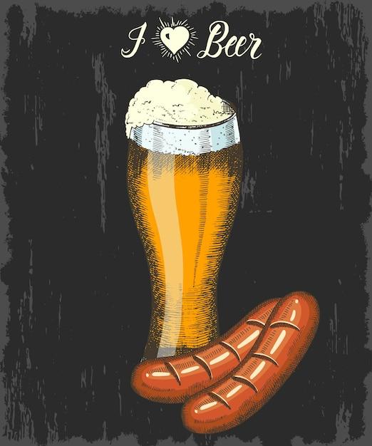 Stellen sie mit hand gezeichnetem becher bier und wurst ein. handgemachte beschriftung. skizzieren. oktoberfest-objekte Premium Vektoren