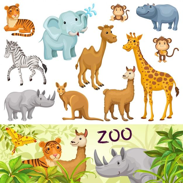 Stellen sie mit wilden tieren der savanne und der wüste ein. Premium Vektoren