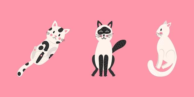 Stellen sie niedliche cartoon lustige katzen ein. kollektion drucke für kinder t-shirts und kleidung. auf rosa hintergrund isoliert. Premium Vektoren