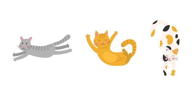 Stellen sie niedliche cartoon lustige katzen ein. kollektion drucke für kinder t-shirts und kleidung. auf weißem hintergrund isoliert. Premium Vektoren