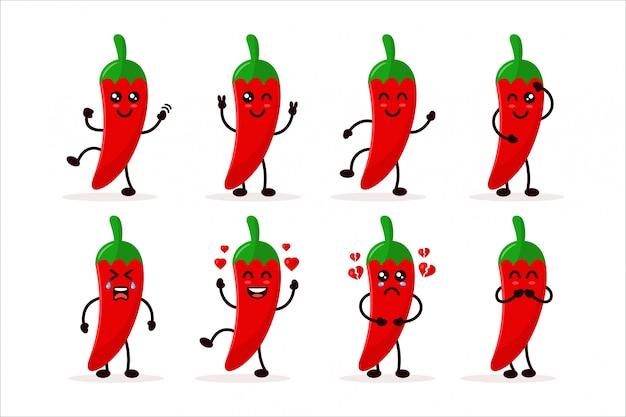 Stellen sie niedliche chili charater illustration ein Premium Vektoren