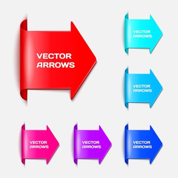 Stellen sie o pfeile in form von papieraufklebern ein Premium Vektoren