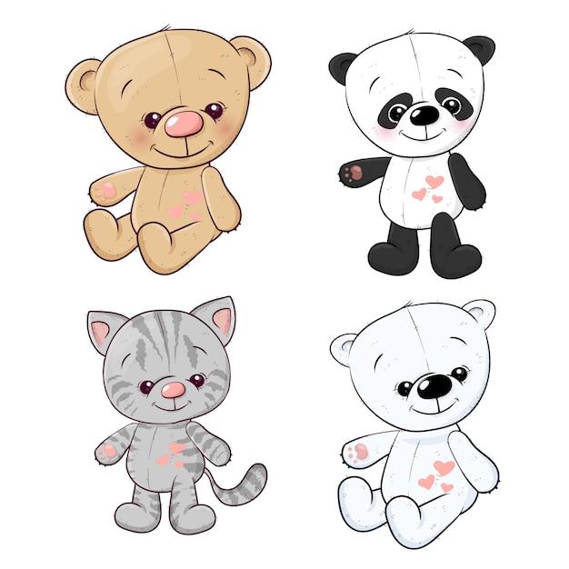 Stellen sie panda cub kätzchen teddybär hase. handzeichnung. vektor-illustration Premium Vektoren