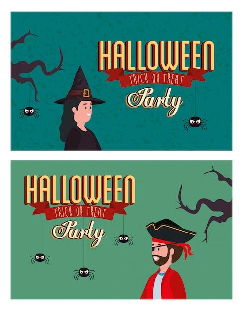 Stellen sie plakat von party halloween mit verkleidet ein Kostenlosen Vektoren