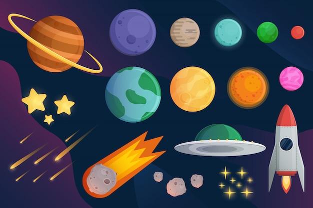 Stellen sie planeten mit raumschiff oder raketen- und galaxiehintergrund ein Premium Vektoren