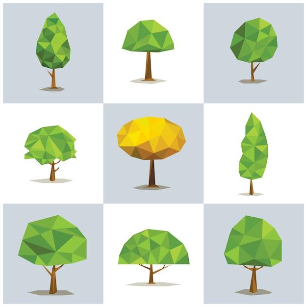 Stellen sie polygonale bäume mit verschiedenen kronen ein. abstrakter baum niedrig poly, vektorillustration. Premium Vektoren
