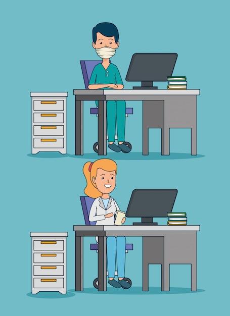 Stellen sie professionelle frauen- und manndoktoren im büro ein Kostenlosen Vektoren