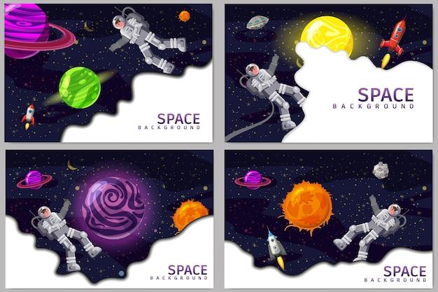 Stellen sie raumkartenhintergründe mit raumfahrer, rakete, ufo, sonne, sternen ein. Premium Vektoren