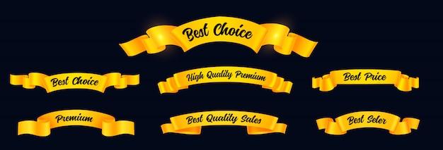 Stellen sie realistische goldene bänder mit text ein Premium Vektoren