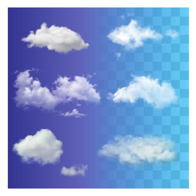 Stellen sie realistische unterschiedliche transparente weiße himmelwolken ein. Premium Vektoren