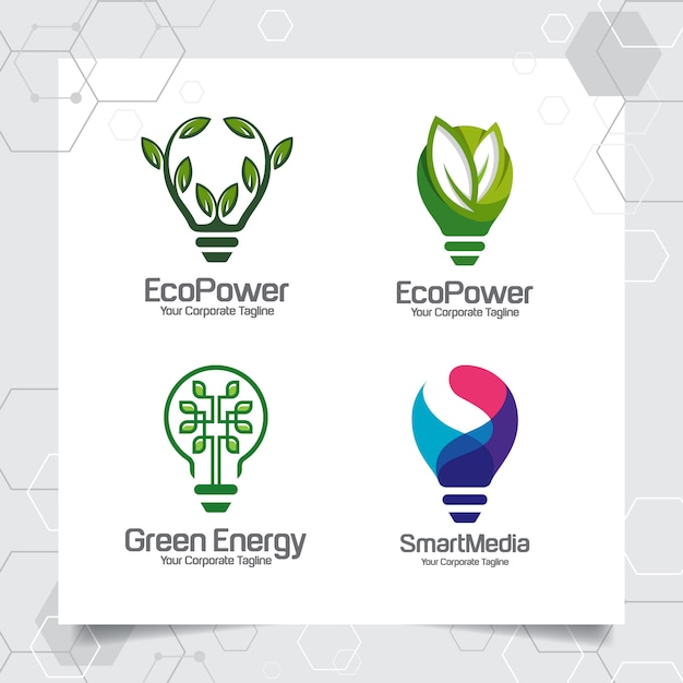 Stellen sie sammlung des intelligenten ideendesignkonzeptes der grünen energielogoschablonenbirne von blättern ein Premium Vektoren