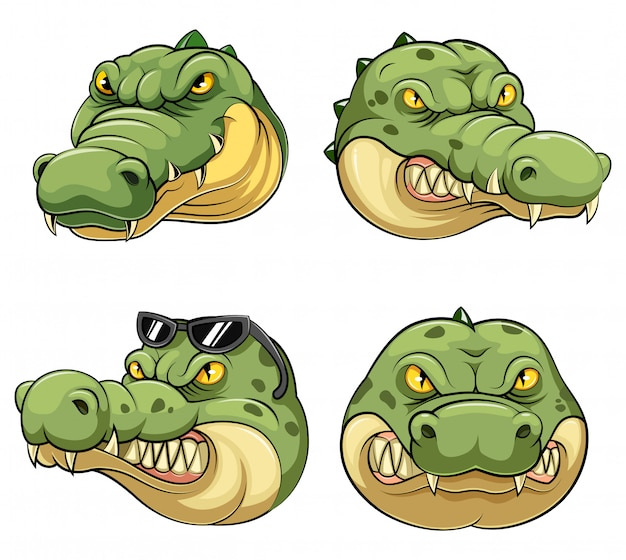 Stellen sie sammlung des maskottchen-kopfes eines krokodils ein Premium Vektoren