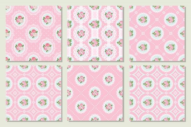 Stellen sie sammlung des nahtlosen musters der shabby chic-rose in der rosa farbe ein Premium Vektoren