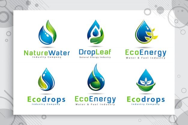Stellen sie sammlung des naturwassertropfenlogos mit modernem artfarbkonzept ein. Premium Vektoren