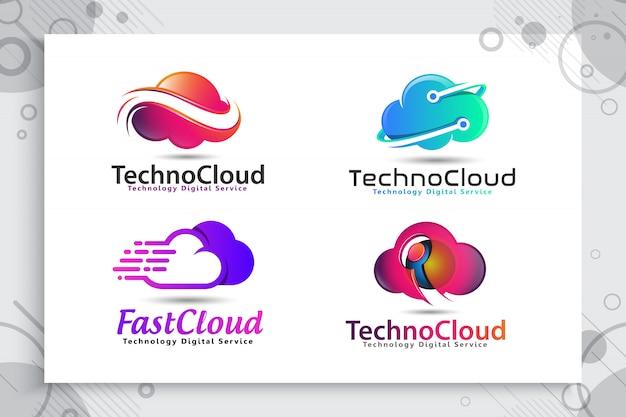 Stellen sie sammlung des wolkendatenlogos für technologie mit modernem farb- und artkonzept ein. Premium Vektoren