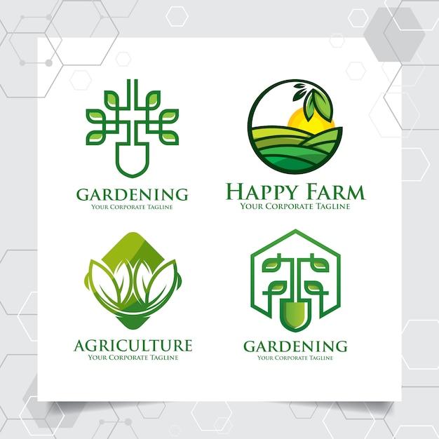 Stellen sie sammlung landwirtschaftslogo-schablonendesign ein Premium Vektoren