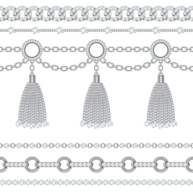 Stellen sie sammlung silberne metallische kettenränder mit edelsteinen und quasten ein. Premium Vektoren