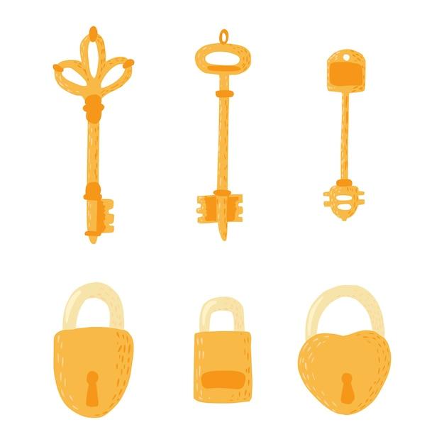 Stellen sie schlüssel und schlösser auf weißem hintergrund ein. Premium Vektoren