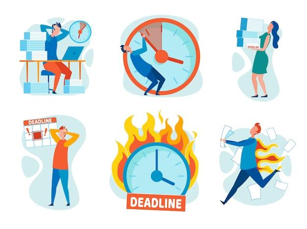 Stellen sie stress ein, indem sie deadlines cartoon flat brechen. Premium Vektoren