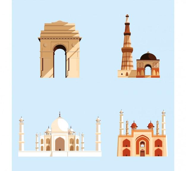 Stellen sie strukturen ein, die indische architektur emblematisch sind Premium Vektoren