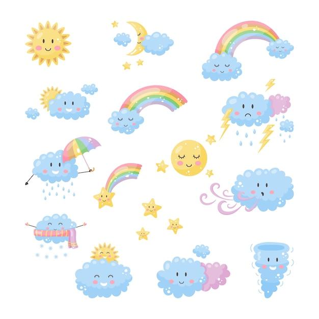 Stellen sie süßes wetter für kinder ein. sonne, mond, wolken regenbogensterne Premium Vektoren