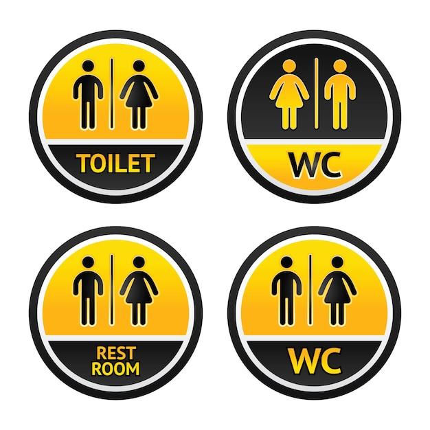 Stellen sie toilettensymbole ein Premium Vektoren