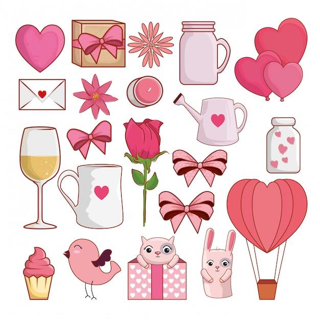 Stellen sie valentinsgrußtagesdekoration zur romantikfeier ein Premium Vektoren