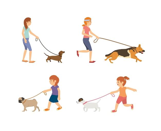 Stellen sie vektorjugendlich und -kinder ein, die mit hunden gehen Premium Vektoren