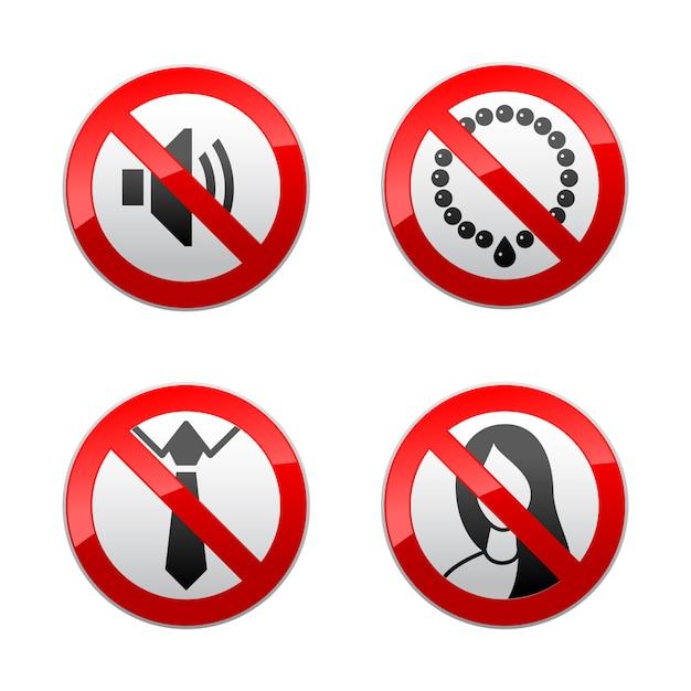 Stellen sie verbotene zeichen - büro ein Premium Vektoren