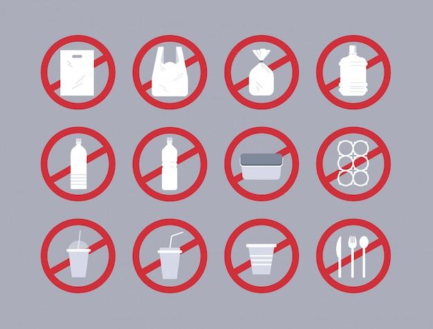 Stellen sie verschiedene einwegobjekte aus kunststoffsammlung ein. verschmutzungsrecycling-ökologieproblem speichern sie das erdkonzept-verbotsschild flach horizontal Premium Vektoren