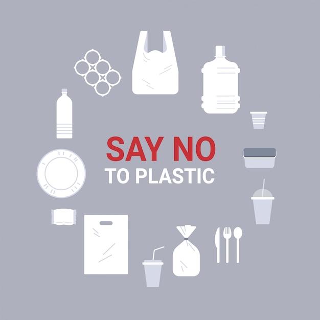 Stellen sie verschiedene einwegobjekte aus plastiksymbolen ein, die sich um die kreissammlung verschmutzen. verschmutzungsrecycling-ökologieproblem speichern sie das flache erdkonzept Premium Vektoren