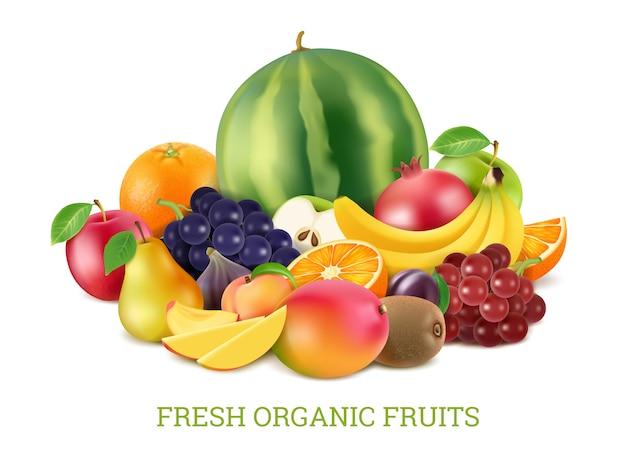 Stellen sie verschiedene frische früchte ein Premium Vektoren