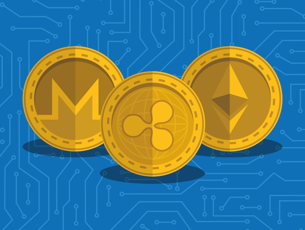Stellen sie virtuelle münzen mit stromkreishintergrund ein Premium Vektoren