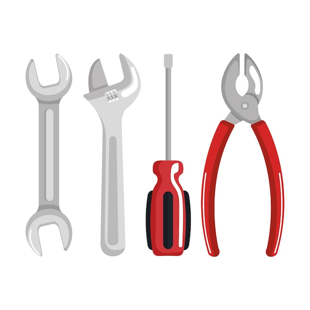 Stellen sie werkzeugelemente arbeit arbeitstag symbol vektor-illustration Premium Vektoren