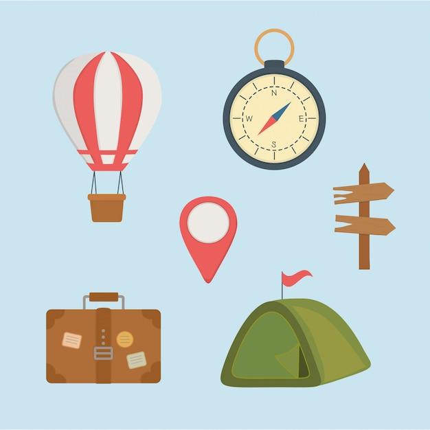 Stellte ikonen der campingzone ein Premium Vektoren
