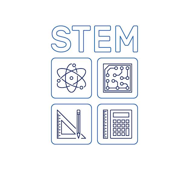 Stem-wort mit symbolen. vektorwissenschafts-entwurfsillustration Premium Vektoren