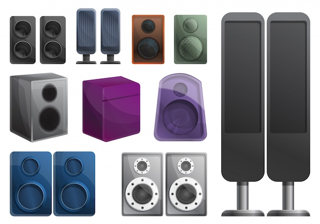 Stereo-sound-system-set, cartoon-stil Premium Vektoren