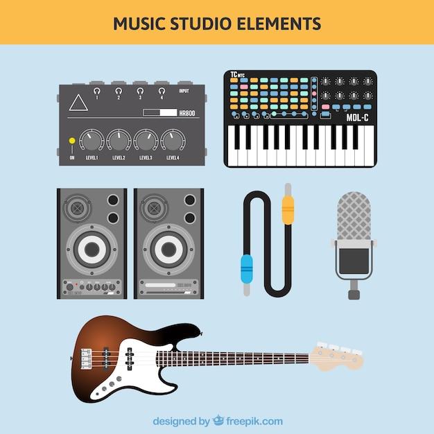 Stereo und musikinstrumente in flaches design Kostenlosen Vektoren
