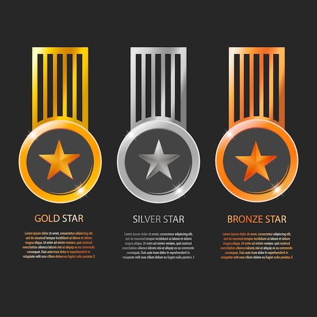 Stern medaillen und bänder mit text raum auf schwarzem hintergrund isoliert Premium Vektoren
