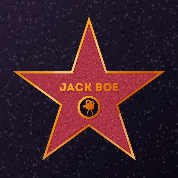 Stern mit namen für die ehrung des schauspielers Premium Vektoren