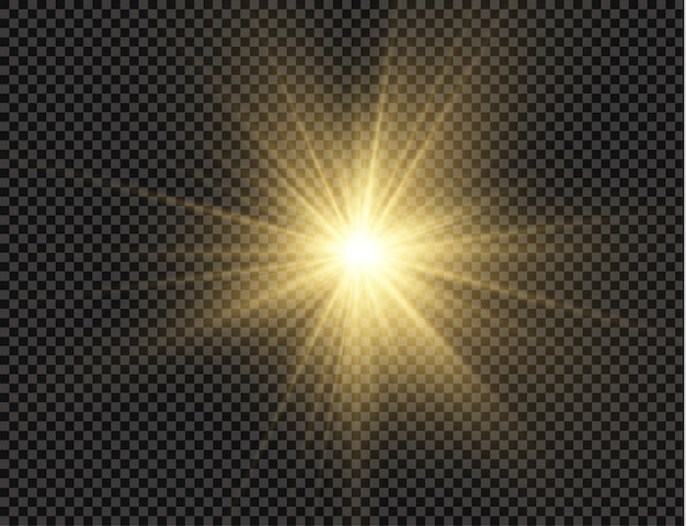 Stern platzte vor brillanz, leuchtender heller stern, leuchtendes licht platzte auf einem transparenten hintergrund. Premium Vektoren